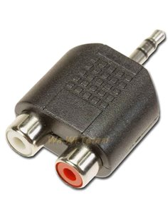 3.5mm jack - stereo adapter naar 2x rca female