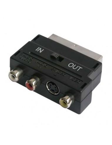 Scart-adapter ScartST/1XS-VHS/3XCinchContra+Schakelaar